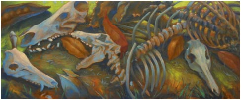 "Remnants of the Pigs. 2011. oil on canvas. 20""x48"""